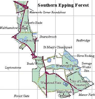 Map of Southern Epping Forest